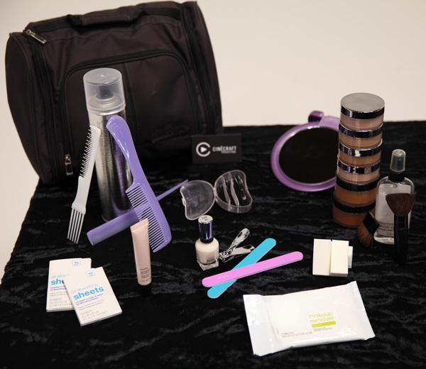 Video Production Makeup Kit - contents laid out on black velvet
