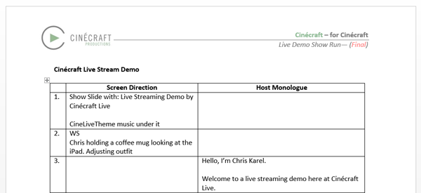 Live streaming event Script Section depicting how to start a script